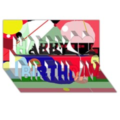 Abstract Train Happy Birthday 3d Greeting Card (8x4)