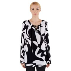 Black And White Elegant Pattern Women s Tie Up Tee