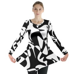 Black And White Elegant Pattern Long Sleeve Tunic  by Valentinaart