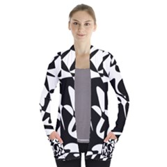 Black And White Elegant Pattern Women s Open Front Pockets Cardigan(p194)