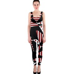 Red, Black And White Abstraction Onepiece Catsuit by Valentinaart