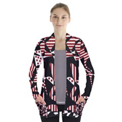 Red, Black And White Abstraction Women s Open Front Pockets Cardigan(p194) by Valentinaart