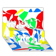 Colorful Abstraction Miss You 3d Greeting Card (7x5) by Valentinaart