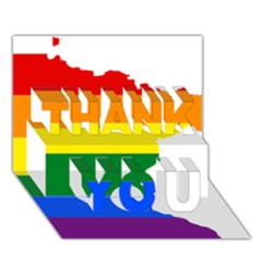 Lgbt Flag Map Of Minnesota  Thank You 3d Greeting Card (7x5) by abbeyz71