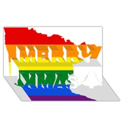 Lgbt Flag Map Of Minnesota  Merry Xmas 3d Greeting Card (8x4) by abbeyz71