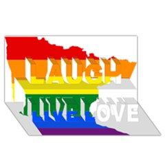 Lgbt Flag Map Of Minnesota  Laugh Live Love 3d Greeting Card (8x4) by abbeyz71