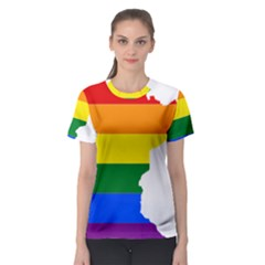 Lgbt Flag Map Of Minnesota  Women s Sport Mesh Tee