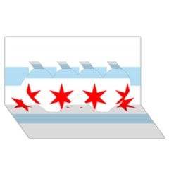 Flag Of Chicago Twin Hearts 3d Greeting Card (8x4)