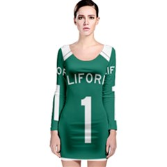 California 1 State Highway   Pch Long Sleeve Bodycon Dress