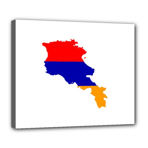 Flag Map Of Armenia  Deluxe Canvas 24  X 20