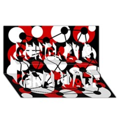 Red, Black And White Pattern Congrats Graduate 3d Greeting Card (8x4) by Valentinaart