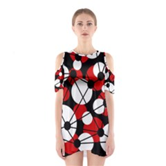 Red, Black And White Pattern Cutout Shoulder Dress by Valentinaart