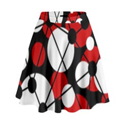 Red, Black And White Pattern High Waist Skirt by Valentinaart
