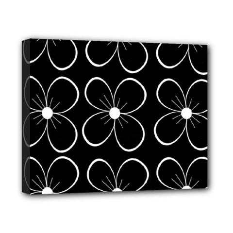 Black And White Floral Pattern Canvas 10  X 8