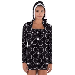 Black And White Floral Pattern Women s Long Sleeve Hooded T-shirt by Valentinaart