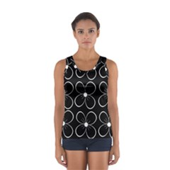 Black And White Floral Pattern Women s Sport Tank Top