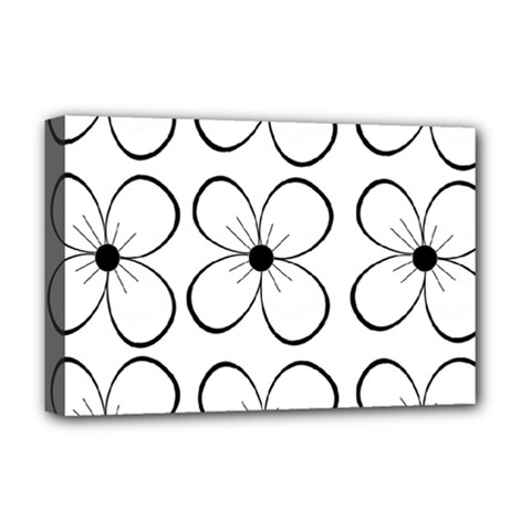 White Flowers Pattern Deluxe Canvas 18  X 12   by Valentinaart