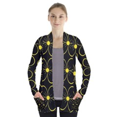 Yellow Flowers Women s Open Front Pockets Cardigan(p194)