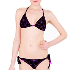 Purple Floral Pattern Bikini Set by Valentinaart