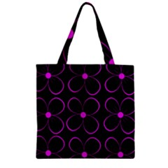 Purple Floral Pattern Zipper Grocery Tote Bag by Valentinaart