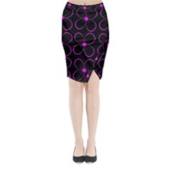 Purple Floral Pattern Midi Wrap Pencil Skirt by Valentinaart