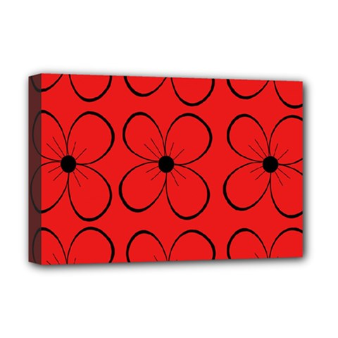 Red Floral Pattern Deluxe Canvas 18  X 12   by Valentinaart