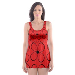 Red Floral Pattern Skater Dress Swimsuit by Valentinaart