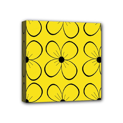 Yellow Floral Pattern Mini Canvas 4  X 4  by Valentinaart