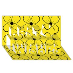 Yellow Floral Pattern Best Wish 3d Greeting Card (8x4)