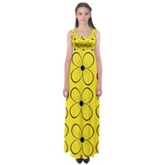 Yellow Floral Pattern Empire Waist Maxi Dress by Valentinaart