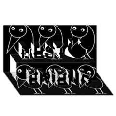 Black And White Birds Best Friends 3d Greeting Card (8x4) by Valentinaart