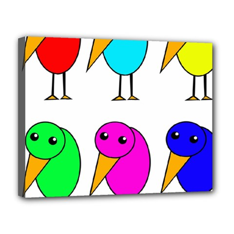 Colorful Birds Canvas 14  X 11  by Valentinaart