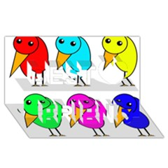 Colorful Birds Best Friends 3d Greeting Card (8x4) by Valentinaart