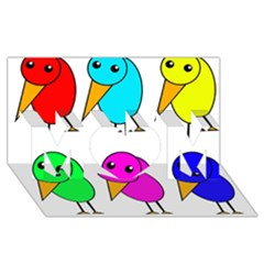 Colorful Birds Mom 3d Greeting Card (8x4) by Valentinaart