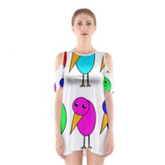 Colorful Birds Cutout Shoulder Dress by Valentinaart