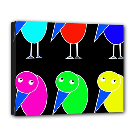 Colorful Birds Deluxe Canvas 20  X 16   by Valentinaart