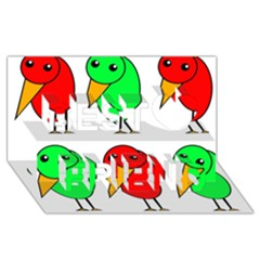 Green And Red Birds Best Friends 3d Greeting Card (8x4) by Valentinaart