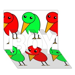 Green And Red Birds Boy 3d Greeting Card (7x5) by Valentinaart