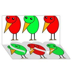 Green And Red Birds Twin Heart Bottom 3d Greeting Card (8x4) by Valentinaart