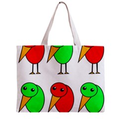 Green And Red Birds Zipper Mini Tote Bag by Valentinaart
