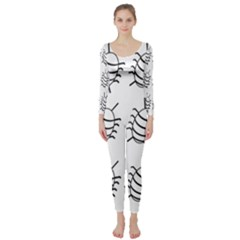 White Bug Pattern Long Sleeve Catsuit by Valentinaart