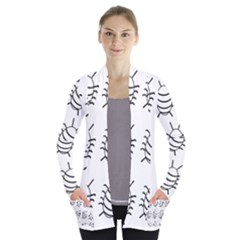 White Bug Pattern Women s Open Front Pockets Cardigan(p194)