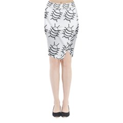 White Bug Pattern Midi Wrap Pencil Skirt by Valentinaart