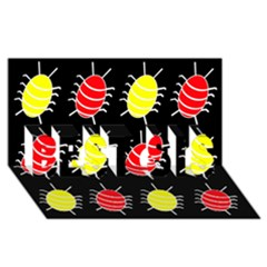 Red And Yellow Bugs Pattern Best Sis 3d Greeting Card (8x4) by Valentinaart