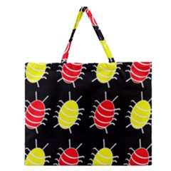 Red And Yellow Bugs Pattern Zipper Large Tote Bag by Valentinaart