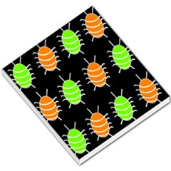 Green And Orange Bug Pattern Small Memo Pads by Valentinaart