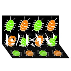 Green And Orange Bug Pattern Party 3d Greeting Card (8x4) by Valentinaart