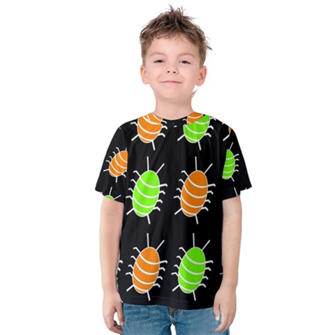 Green And Orange Bug Pattern Kid s Cotton Tee by Valentinaart