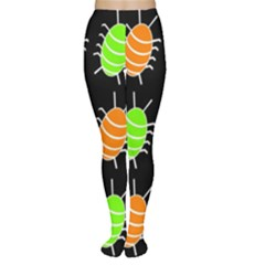 Green And Orange Bug Pattern Women s Tights