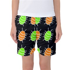 Green And Orange Bug Pattern Women s Basketball Shorts by Valentinaart